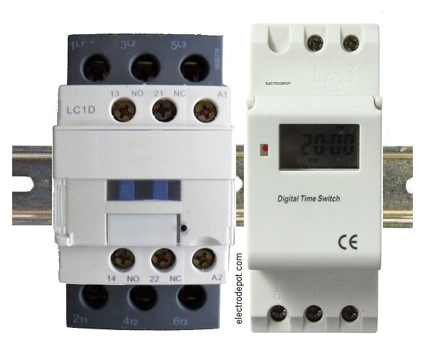 timercontactor 4 pole lighting contactor  at crackthecode.co